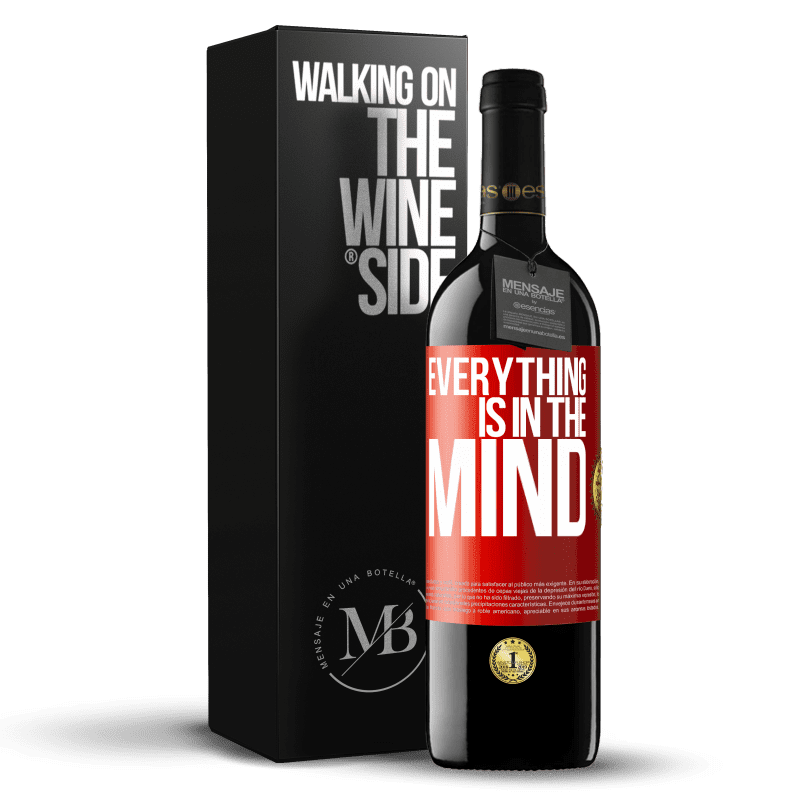 24,95 € Free Shipping | Red Wine RED Edition Crianza 6 Months Everything is in the mind Red Label. Customizable label Aging in oak barrels 6 Months Harvest 2018 Tempranillo