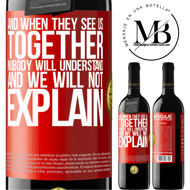 24,95 € Free Shipping | Red Wine RED Edition Crianza 6 Months And when they see us together, nobody will understand, and we will not explain Red Label. Customizable label Aging in oak barrels 6 Months Harvest 2018 Tempranillo