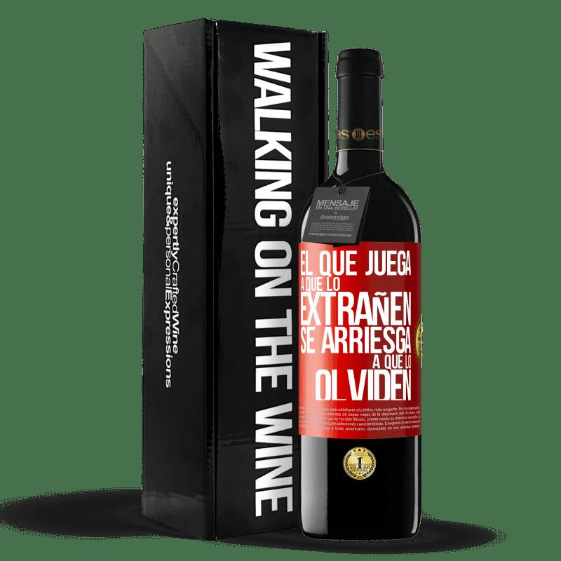 24,95 € Envoi gratuit | Vin rouge Édition RED Crianza 6 Mois Celui qui joue à manquer risque d'être oublié Étiquette Rouge. Étiquette personnalisable Vieillissement en fûts de chêne 6 Mois Récolte 2018 Tempranillo