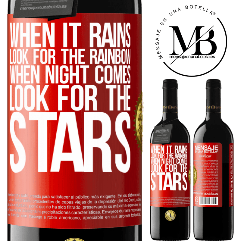 24,95 € Free Shipping | Red Wine RED Edition Crianza 6 Months When it rains, look for the rainbow, when night comes, look for the stars Red Label. Customizable label Aging in oak barrels 6 Months Harvest 2018 Tempranillo