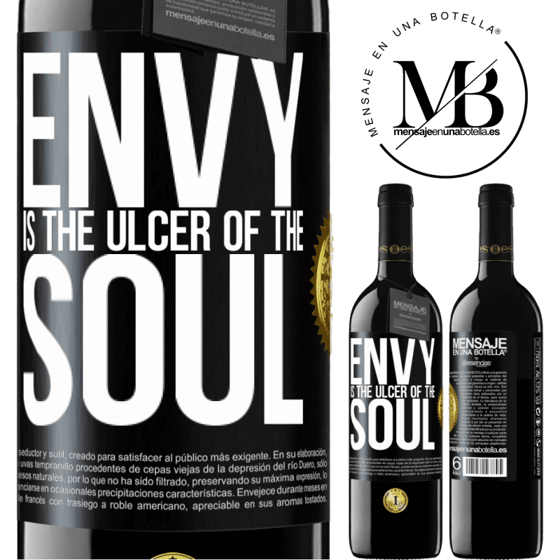 24,95 € Free Shipping | Red Wine RED Edition Crianza 6 Months Envy is the ulcer of the soul Black Label. Customizable label Aging in oak barrels 6 Months Harvest 2018 Tempranillo