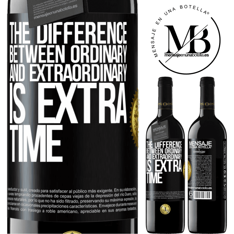 24,95 € Free Shipping | Red Wine RED Edition Crianza 6 Months The difference between ordinary and extraordinary is EXTRA time Black Label. Customizable label Aging in oak barrels 6 Months Harvest 2018 Tempranillo