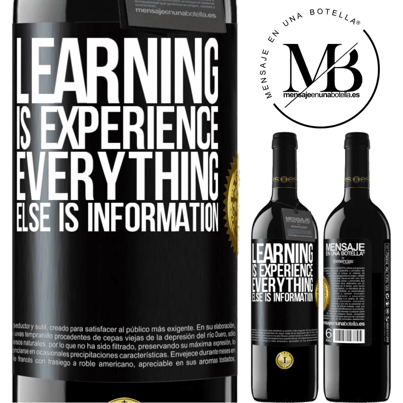 24,95 € Free Shipping | Red Wine RED Edition Crianza 6 Months Learning is experience. Everything else is information Black Label. Customizable label Aging in oak barrels 6 Months Harvest 2018 Tempranillo