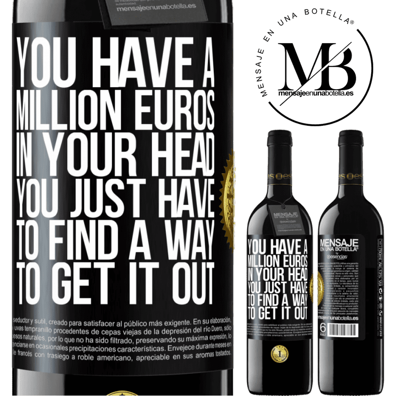 24,95 € Free Shipping | Red Wine RED Edition Crianza 6 Months You have a million euros in your head. You just have to find a way to get it out Black Label. Customizable label Aging in oak barrels 6 Months Harvest 2018 Tempranillo
