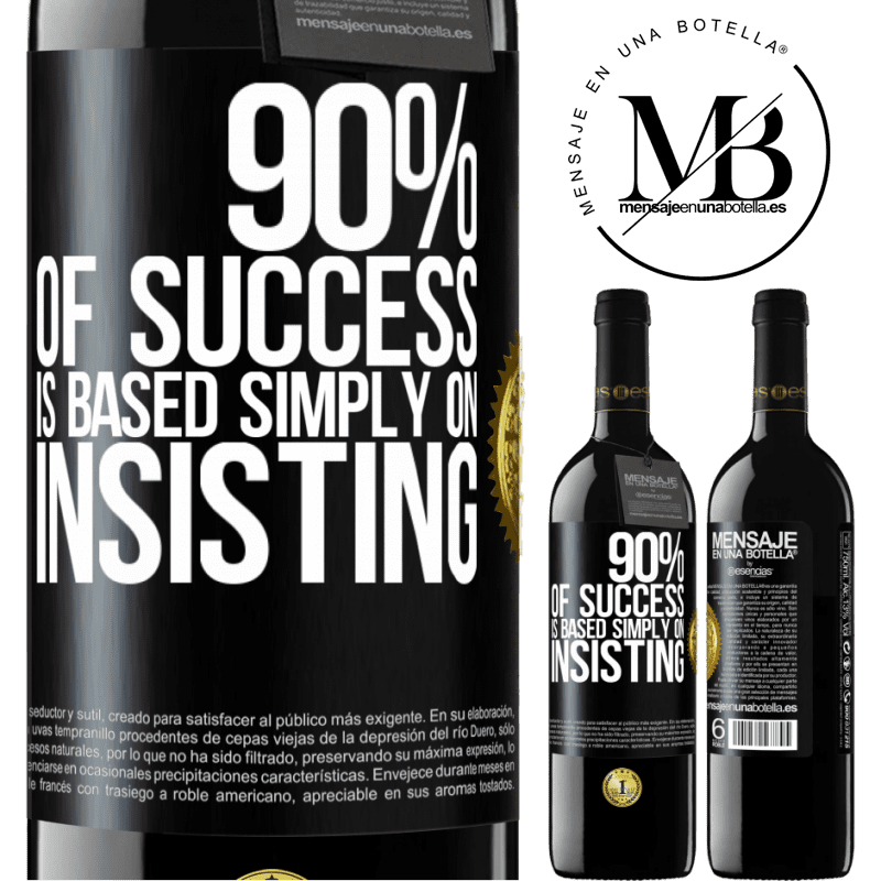 24,95 € Free Shipping | Red Wine RED Edition Crianza 6 Months 90% of success is based simply on insisting Black Label. Customizable label Aging in oak barrels 6 Months Harvest 2018 Tempranillo