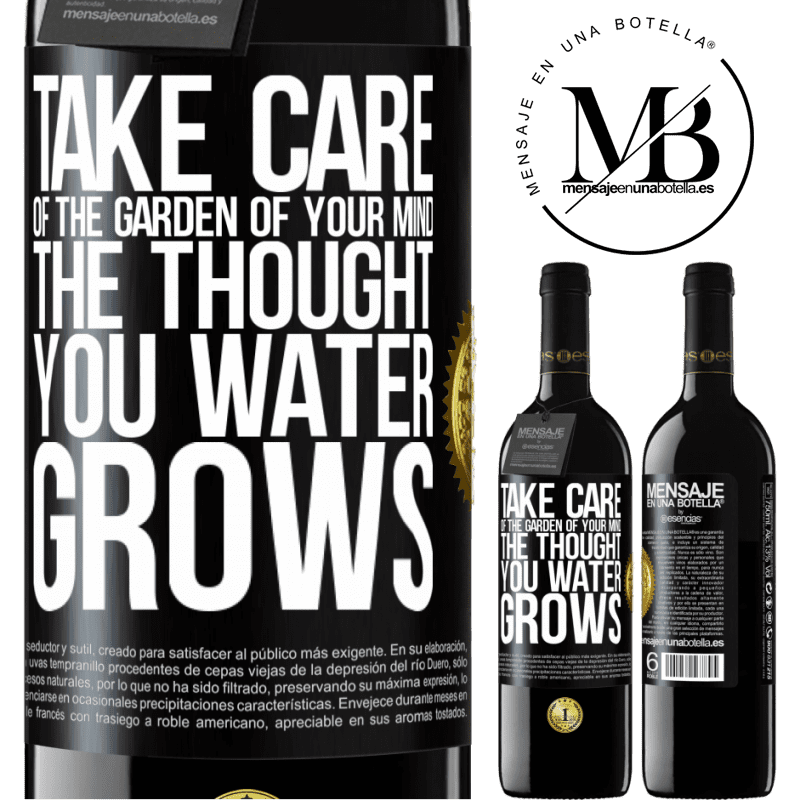 24,95 € Free Shipping | Red Wine RED Edition Crianza 6 Months Take care of the garden of your mind. The thought you water grows Black Label. Customizable label Aging in oak barrels 6 Months Harvest 2018 Tempranillo