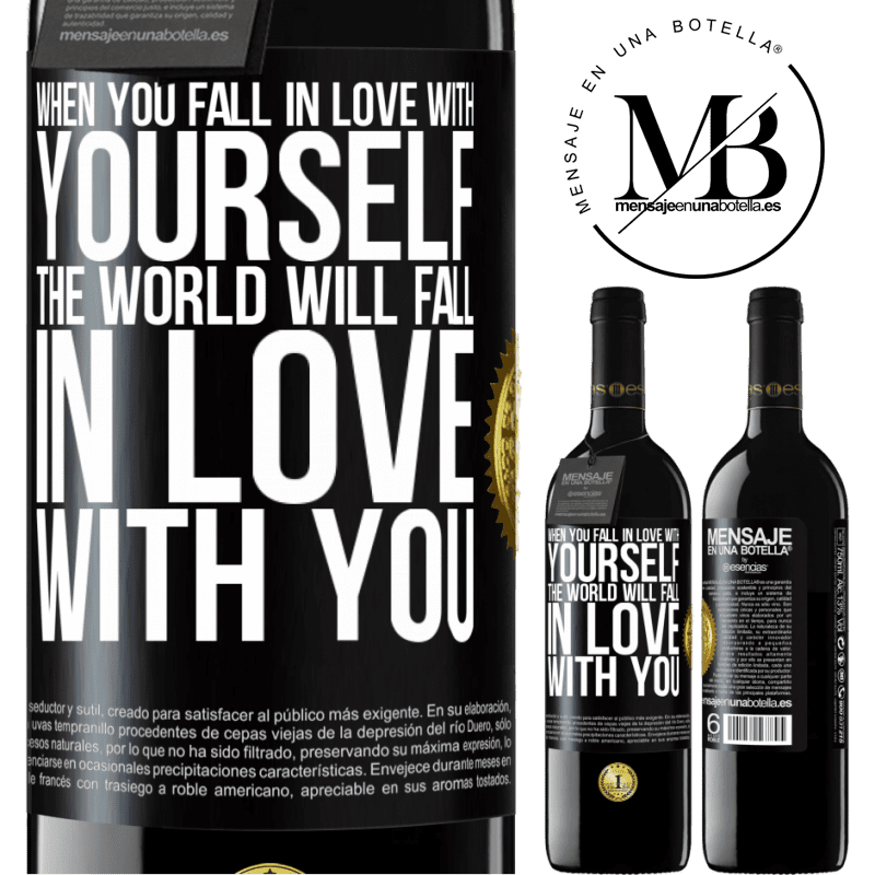 24,95 € Free Shipping | Red Wine RED Edition Crianza 6 Months When you fall in love with yourself, the world will fall in love with you Black Label. Customizable label Aging in oak barrels 6 Months Harvest 2018 Tempranillo