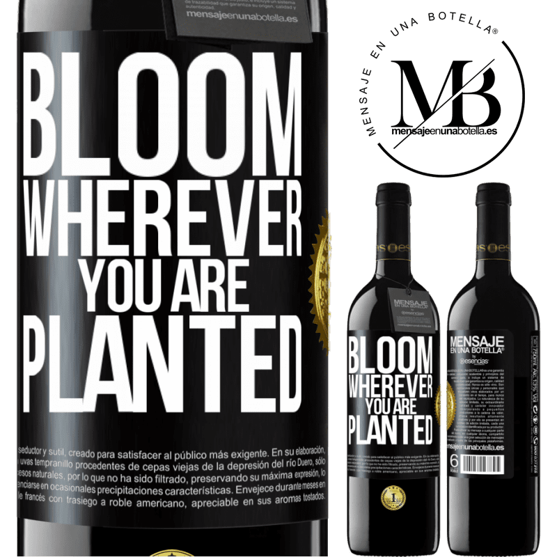 24,95 € Free Shipping | Red Wine RED Edition Crianza 6 Months It blooms wherever you are planted Black Label. Customizable label Aging in oak barrels 6 Months Harvest 2018 Tempranillo