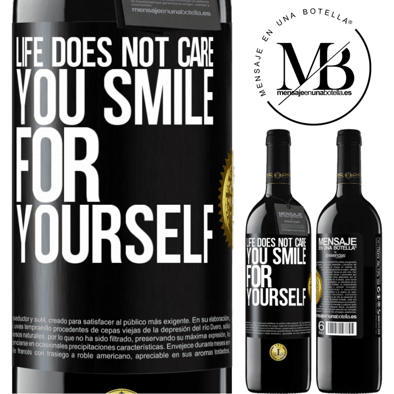 24,95 € Free Shipping | Red Wine RED Edition Crianza 6 Months Life does not care, you smile for yourself Black Label. Customizable label Aging in oak barrels 6 Months Harvest 2018 Tempranillo