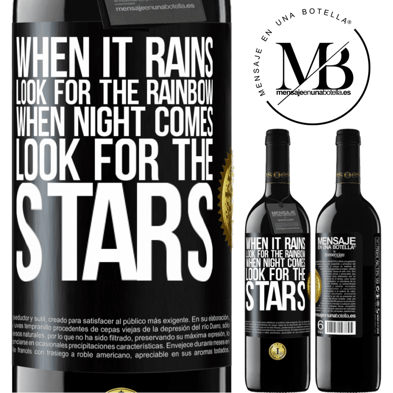 24,95 € Free Shipping | Red Wine RED Edition Crianza 6 Months When it rains, look for the rainbow, when night comes, look for the stars Black Label. Customizable label Aging in oak barrels 6 Months Harvest 2018 Tempranillo