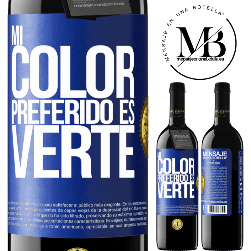 24,95 € Free Shipping | Red Wine RED Edition Crianza 6 Months Mi color preferido es: verte Blue Label. Customizable label Aging in oak barrels 6 Months Harvest 2018 Tempranillo