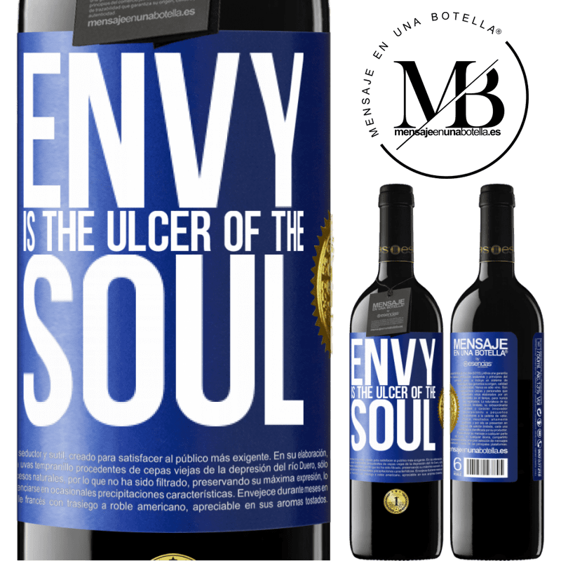 24,95 € Free Shipping | Red Wine RED Edition Crianza 6 Months Envy is the ulcer of the soul Blue Label. Customizable label Aging in oak barrels 6 Months Harvest 2018 Tempranillo