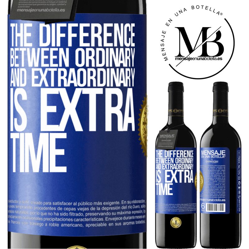 24,95 € Free Shipping | Red Wine RED Edition Crianza 6 Months The difference between ordinary and extraordinary is EXTRA time Blue Label. Customizable label Aging in oak barrels 6 Months Harvest 2018 Tempranillo