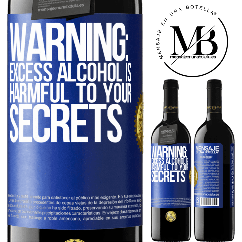 24,95 € Free Shipping | Red Wine RED Edition Crianza 6 Months Warning: Excess alcohol is harmful to your secrets Blue Label. Customizable label Aging in oak barrels 6 Months Harvest 2018 Tempranillo