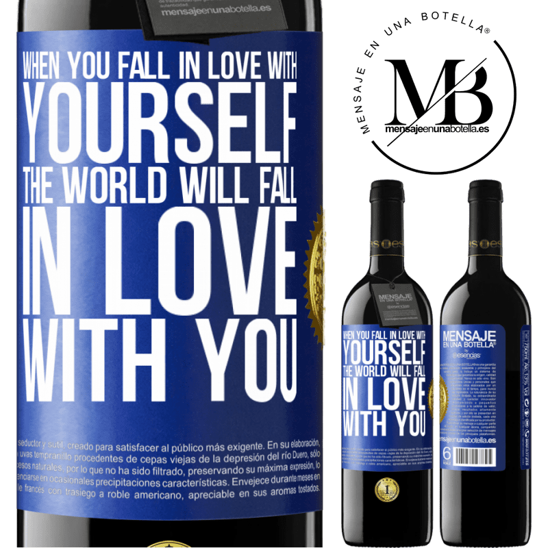 24,95 € Free Shipping | Red Wine RED Edition Crianza 6 Months When you fall in love with yourself, the world will fall in love with you Blue Label. Customizable label Aging in oak barrels 6 Months Harvest 2018 Tempranillo