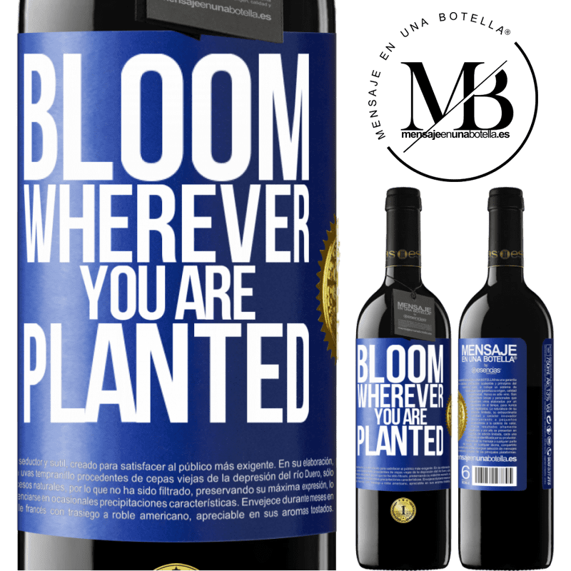 24,95 € Free Shipping | Red Wine RED Edition Crianza 6 Months It blooms wherever you are planted Blue Label. Customizable label Aging in oak barrels 6 Months Harvest 2018 Tempranillo