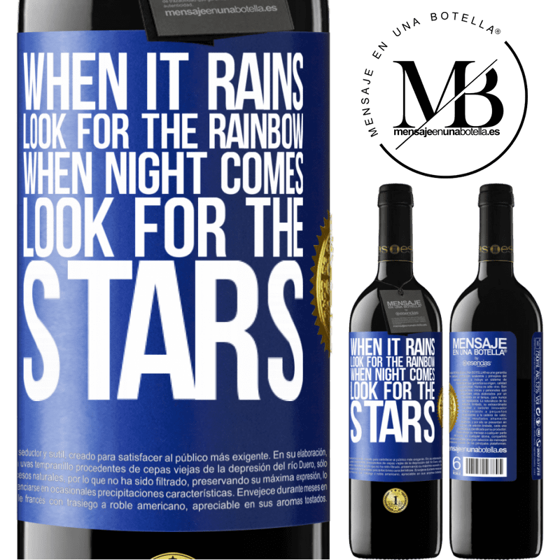 24,95 € Free Shipping | Red Wine RED Edition Crianza 6 Months When it rains, look for the rainbow, when night comes, look for the stars Blue Label. Customizable label Aging in oak barrels 6 Months Harvest 2018 Tempranillo