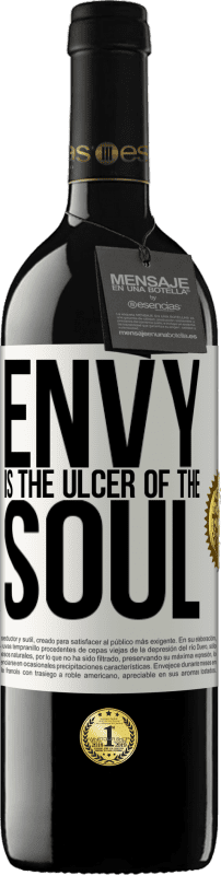 24,95 € Free Shipping | Red Wine RED Edition Crianza 6 Months Envy is the ulcer of the soul White Label. Customizable label Aging in oak barrels 6 Months Harvest 2018 Tempranillo