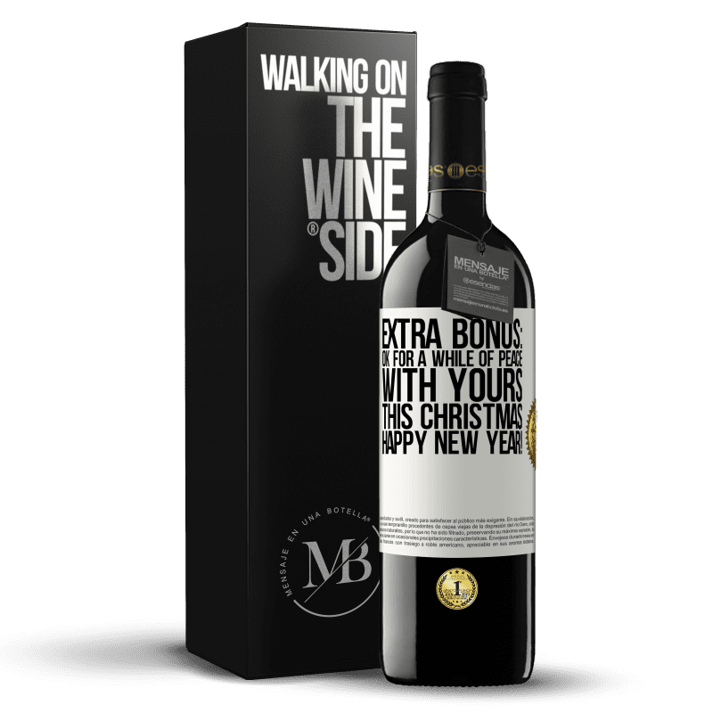 24,95 € Free Shipping | Red Wine RED Edition Crianza 6 Months Extra Bonus: Ok for a while of peace with yours this Christmas. Happy New Year! White Label. Customizable label Aging in oak barrels 6 Months Harvest 2018 Tempranillo