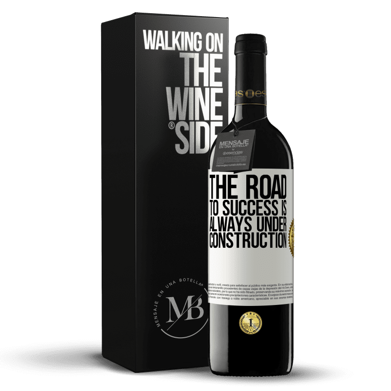 24,95 € Free Shipping | Red Wine RED Edition Crianza 6 Months The road to success is always under construction White Label. Customizable label Aging in oak barrels 6 Months Harvest 2018 Tempranillo