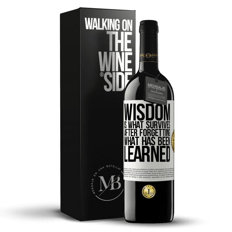 24,95 € Free Shipping | Red Wine RED Edition Crianza 6 Months Wisdom is what survives after forgetting what has been learned White Label. Customizable label Aging in oak barrels 6 Months Harvest 2018 Tempranillo