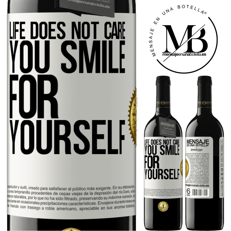24,95 € Free Shipping | Red Wine RED Edition Crianza 6 Months Life does not care, you smile for yourself White Label. Customizable label Aging in oak barrels 6 Months Harvest 2018 Tempranillo