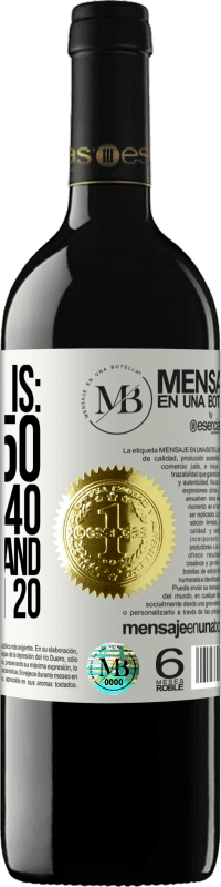 «Attitude is: Being 50, looking 40, feeling 30 and having fun 20» RED Edition Crianza 6 Months