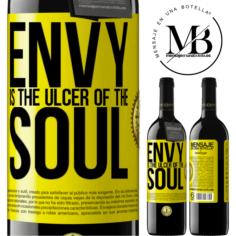 24,95 € Free Shipping | Red Wine RED Edition Crianza 6 Months Envy is the ulcer of the soul Yellow Label. Customizable label Aging in oak barrels 6 Months Harvest 2018 Tempranillo