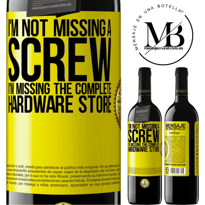 24,95 € Free Shipping | Red Wine RED Edition Crianza 6 Months I'm not missing a screw, I'm missing the complete hardware store Yellow Label. Customizable label Aging in oak barrels 6 Months Harvest 2018 Tempranillo
