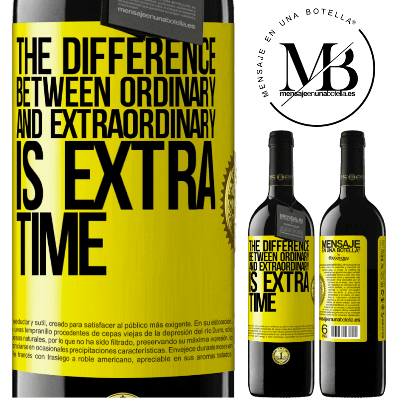 24,95 € Free Shipping | Red Wine RED Edition Crianza 6 Months The difference between ordinary and extraordinary is EXTRA time Yellow Label. Customizable label Aging in oak barrels 6 Months Harvest 2018 Tempranillo