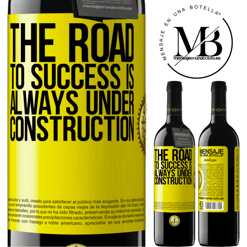 24,95 € Free Shipping | Red Wine RED Edition Crianza 6 Months The road to success is always under construction Yellow Label. Customizable label Aging in oak barrels 6 Months Harvest 2018 Tempranillo
