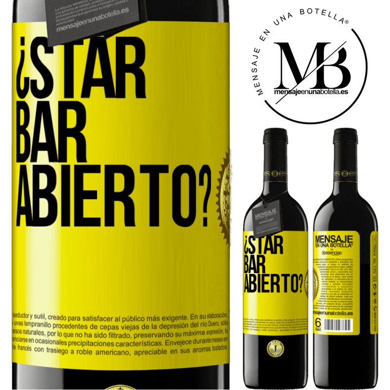 24,95 € Free Shipping | Red Wine RED Edition Crianza 6 Months ¿STAR BAR abierto? Yellow Label. Customizable label Aging in oak barrels 6 Months Harvest 2018 Tempranillo