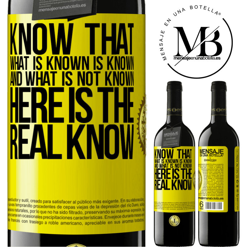 24,95 € Free Shipping | Red Wine RED Edition Crianza 6 Months Know that what is known is known and what is not known here is the real know Yellow Label. Customizable label Aging in oak barrels 6 Months Harvest 2018 Tempranillo