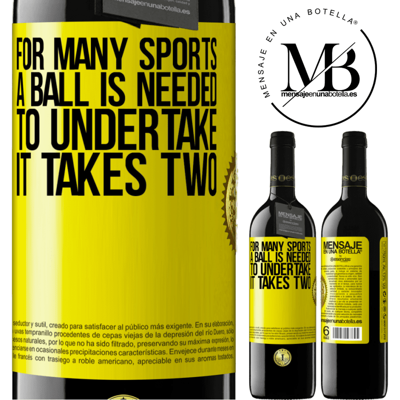 24,95 € Free Shipping | Red Wine RED Edition Crianza 6 Months For many sports a ball is needed. To undertake, it takes two Yellow Label. Customizable label Aging in oak barrels 6 Months Harvest 2018 Tempranillo