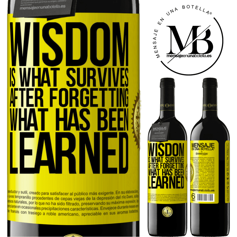 24,95 € Free Shipping | Red Wine RED Edition Crianza 6 Months Wisdom is what survives after forgetting what has been learned Yellow Label. Customizable label Aging in oak barrels 6 Months Harvest 2018 Tempranillo