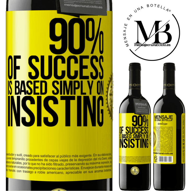 24,95 € Free Shipping | Red Wine RED Edition Crianza 6 Months 90% of success is based simply on insisting Yellow Label. Customizable label Aging in oak barrels 6 Months Harvest 2018 Tempranillo