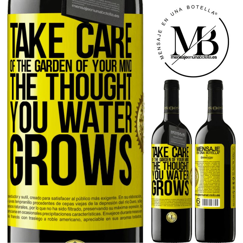 24,95 € Free Shipping | Red Wine RED Edition Crianza 6 Months Take care of the garden of your mind. The thought you water grows Yellow Label. Customizable label Aging in oak barrels 6 Months Harvest 2018 Tempranillo