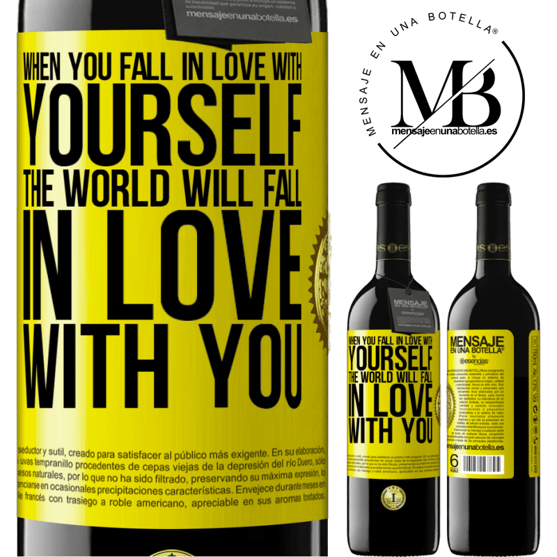 24,95 € Free Shipping | Red Wine RED Edition Crianza 6 Months When you fall in love with yourself, the world will fall in love with you Yellow Label. Customizable label Aging in oak barrels 6 Months Harvest 2018 Tempranillo