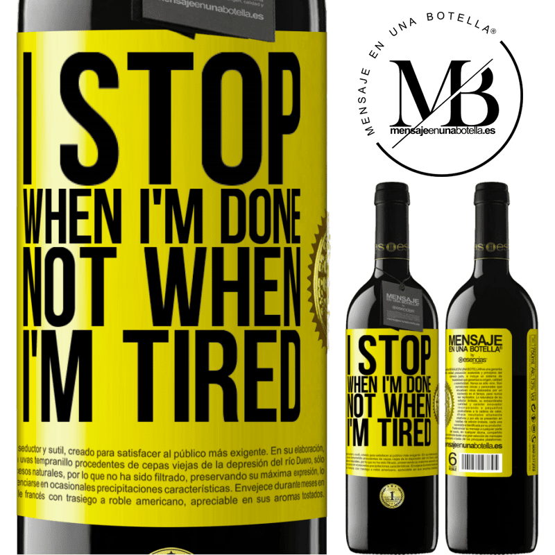 24,95 € Free Shipping | Red Wine RED Edition Crianza 6 Months I stop when I'm done, not when I'm tired Yellow Label. Customizable label Aging in oak barrels 6 Months Harvest 2018 Tempranillo