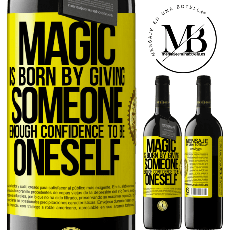 24,95 € Free Shipping | Red Wine RED Edition Crianza 6 Months Magic is born by giving someone enough confidence to be oneself Yellow Label. Customizable label Aging in oak barrels 6 Months Harvest 2018 Tempranillo