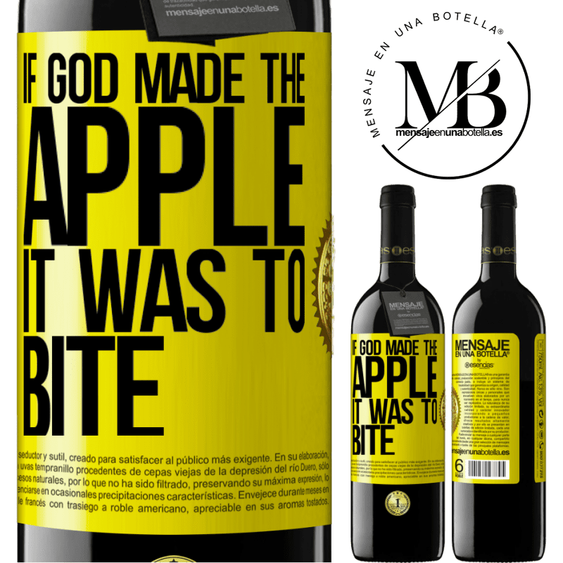24,95 € Free Shipping | Red Wine RED Edition Crianza 6 Months If God made the apple it was to bite Yellow Label. Customizable label Aging in oak barrels 6 Months Harvest 2018 Tempranillo