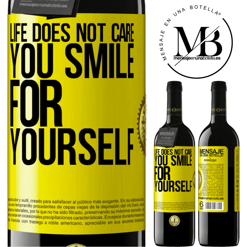 24,95 € Free Shipping | Red Wine RED Edition Crianza 6 Months Life does not care, you smile for yourself Yellow Label. Customizable label Aging in oak barrels 6 Months Harvest 2018 Tempranillo