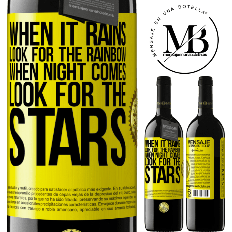 24,95 € Free Shipping | Red Wine RED Edition Crianza 6 Months When it rains, look for the rainbow, when night comes, look for the stars Yellow Label. Customizable label Aging in oak barrels 6 Months Harvest 2018 Tempranillo