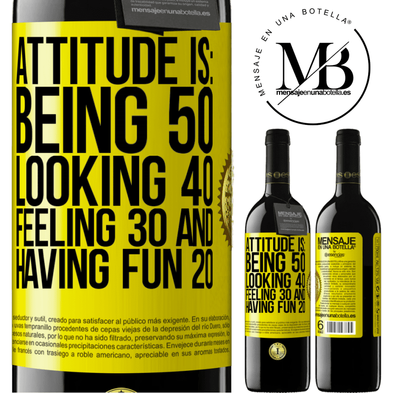 24,95 € Free Shipping | Red Wine RED Edition Crianza 6 Months Attitude is: Being 50, looking 40, feeling 30 and having fun 20 Yellow Label. Customizable label Aging in oak barrels 6 Months Harvest 2018 Tempranillo