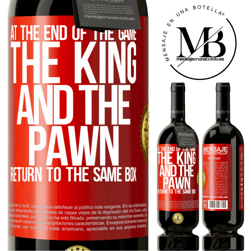 29,95 € Free Shipping   Red Wine Premium Edition MBS® Reserva At the end of the game, the king and the pawn return to the same box Red Label. Customizable label Reserva 12 Months Harvest 2013 Tempranillo
