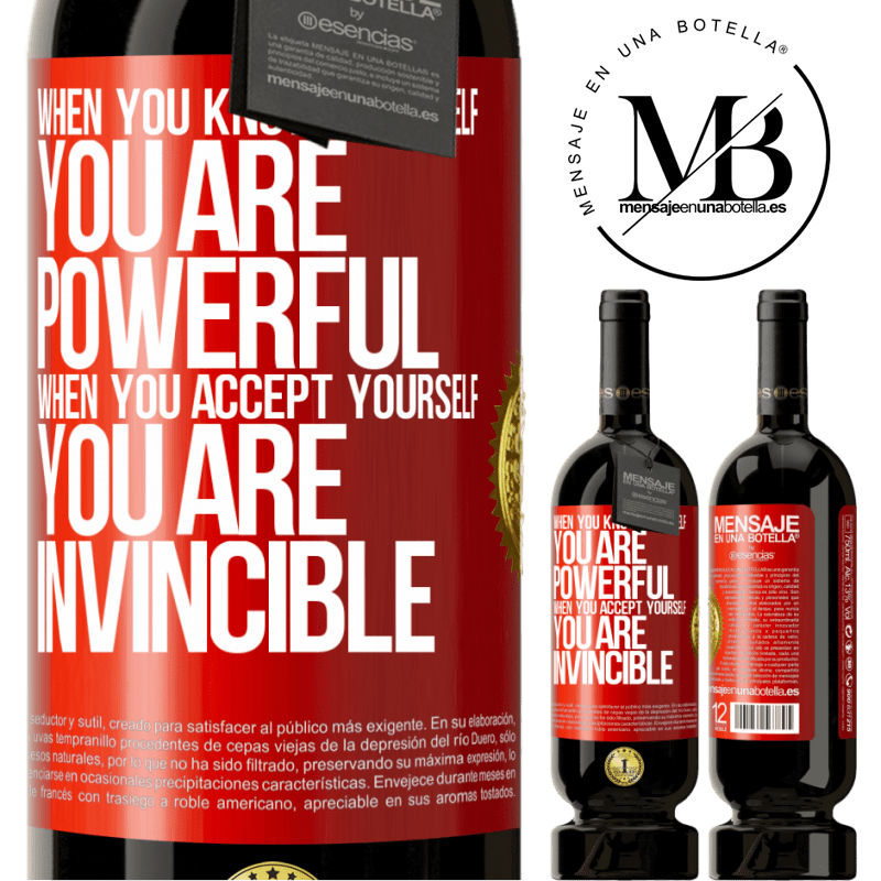 29,95 € Free Shipping | Red Wine Premium Edition MBS® Reserva When you know yourself, you are powerful. When you accept yourself, you are invincible Red Label. Customizable label Reserva 12 Months Harvest 2013 Tempranillo