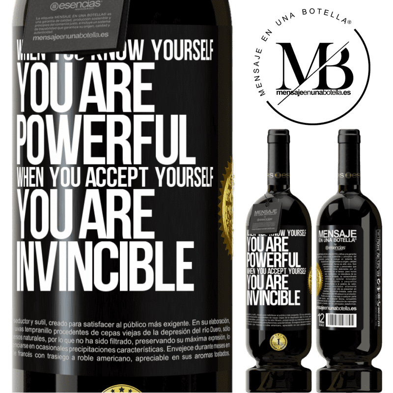 29,95 € Free Shipping | Red Wine Premium Edition MBS® Reserva When you know yourself, you are powerful. When you accept yourself, you are invincible Black Label. Customizable label Reserva 12 Months Harvest 2013 Tempranillo