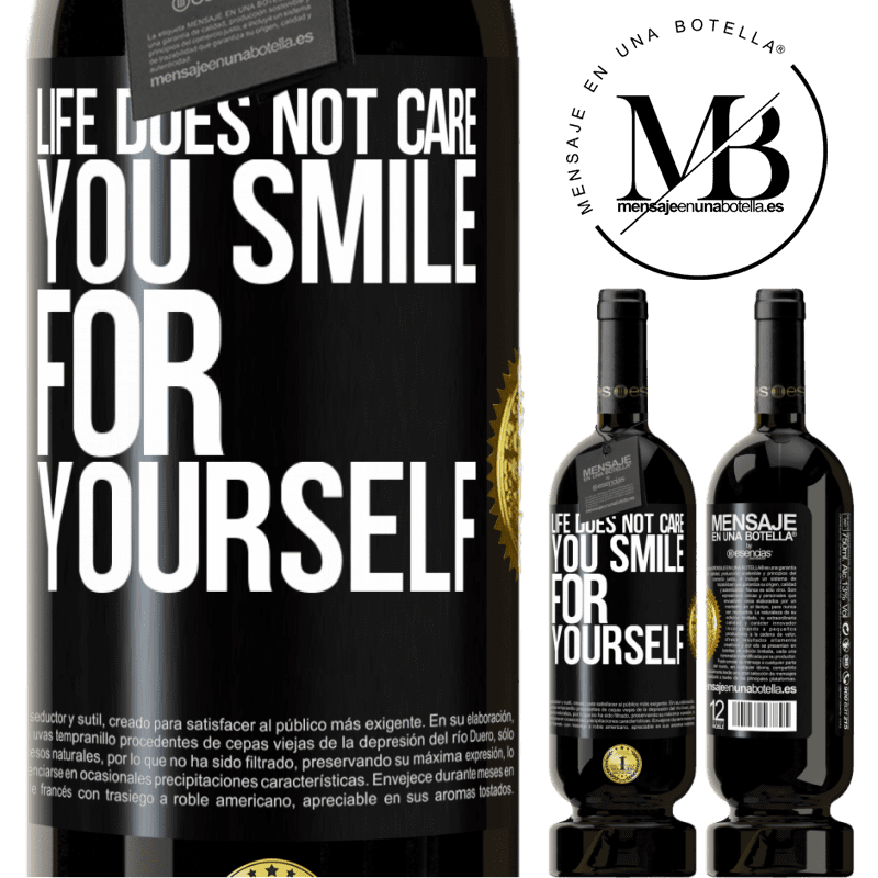 29,95 € Free Shipping | Red Wine Premium Edition MBS® Reserva Life does not care, you smile for yourself Black Label. Customizable label Reserva 12 Months Harvest 2013 Tempranillo