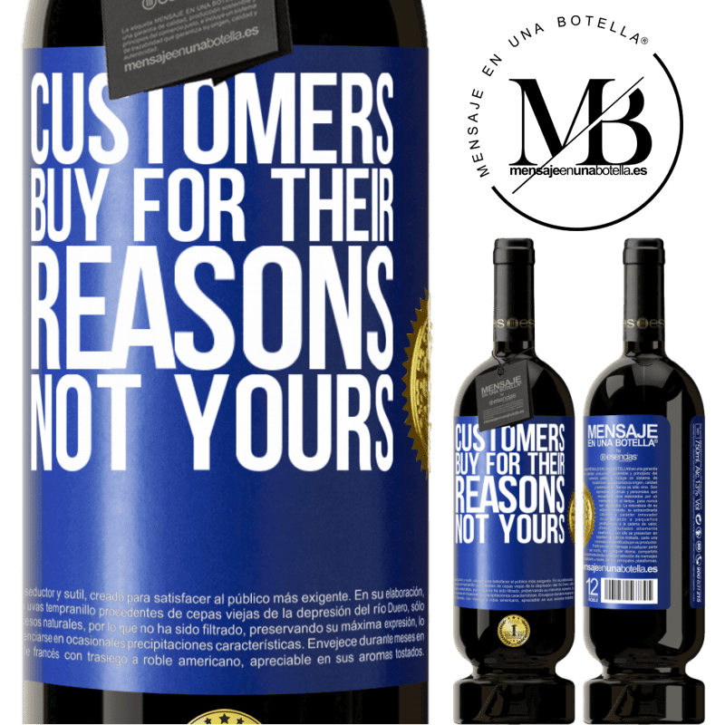 29,95 € Free Shipping | Red Wine Premium Edition MBS® Reserva Customers buy for their reasons, not yours Blue Label. Customizable label Reserva 12 Months Harvest 2013 Tempranillo