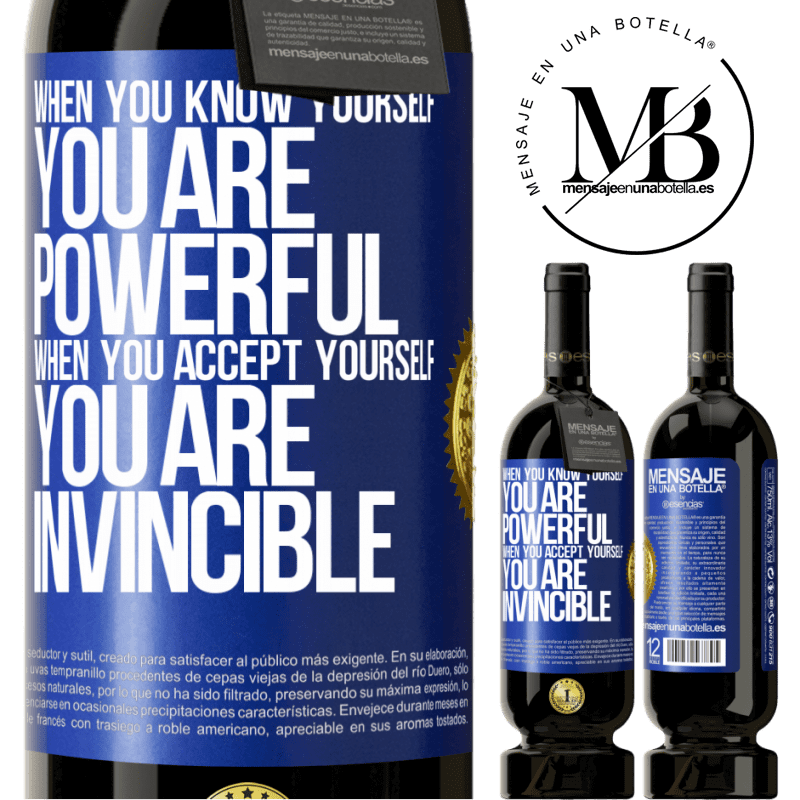 29,95 € Free Shipping | Red Wine Premium Edition MBS® Reserva When you know yourself, you are powerful. When you accept yourself, you are invincible Blue Label. Customizable label Reserva 12 Months Harvest 2013 Tempranillo